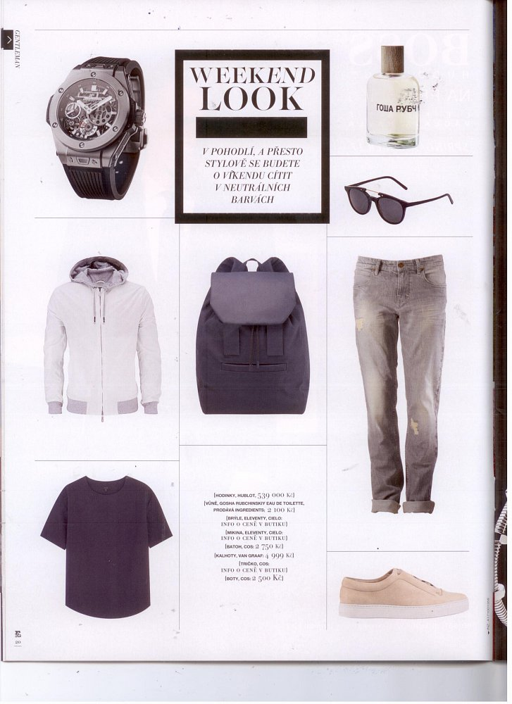 Esence (příloha magazínu EURO) - brýle, mikina Eleventy